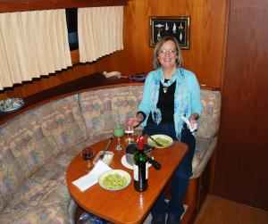 Nuala Having Dinner on Board