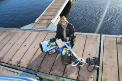 Nuala on the marina with a small amount of the items we have loaded into the boat