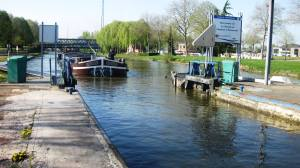 Barge entering Cambrai Lock