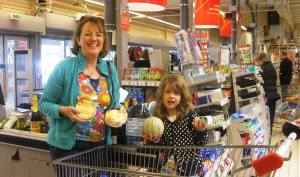 Nuala and Eve getting the shopping