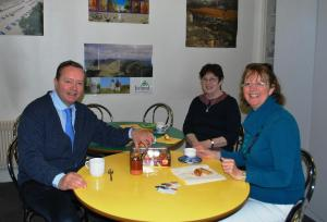 Nuala, Rose & Stephane having coffee in the canteen - note the Irish Poster on the wall!
