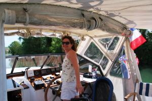 Kate steering the boat