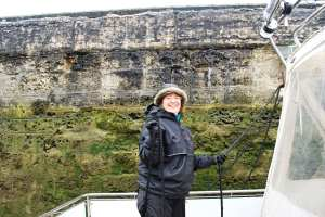 Nuala in one of the first locks -still smiling