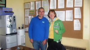 Nuala with Eric in his office- note the excellent coffee machine