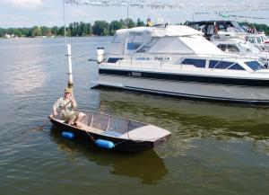 Adrian has not perfected his walking on water skills yet - so he borrowed the marina punt