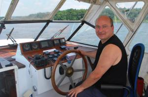 Uwe at the helm