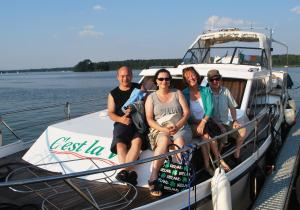 Uwe, Heike, Nuala and Adrian on the boat