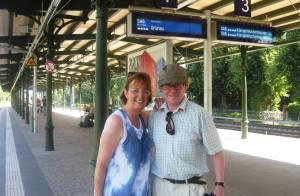 Adrian and Nuala waiting on train