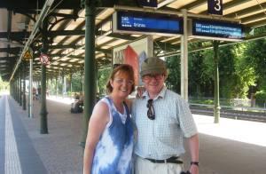 Adrian and Nuala waiting on train
