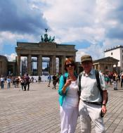 Nuala and Adrian at Brandenburg gate in Berlin