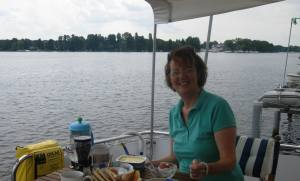 Back in Zeuthan - breakfast on the boat