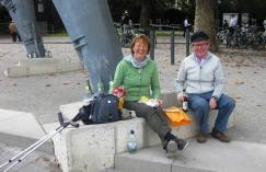 Adrian and Nuala having lunch at the foot of cable car