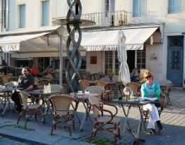 Nuala enjoying a coffee on the Chalon Main Square