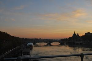 Rhone River in twilight