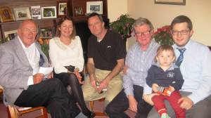 Laurance,Kate,Bernard, Adrian, Cillian on Ciaran knee at Christmas Party