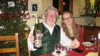 Bernard and Marine with the 1996 bottle of wine