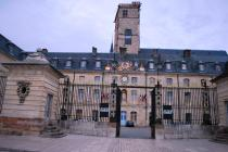 The front of the Hotel de Ville part of the Palais du Ducs- note the Je Suis Charile banners on gate and tower