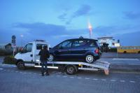 Paul with car loaded - Ferry in Backround- Dublin next