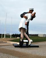 Statue outside Caen Museum- Nuala to show scale