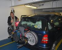 Nuala on car deck. We stocked up on Camembert cheese