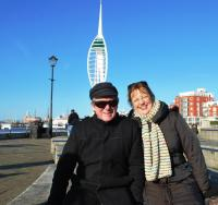 Nuala and Adrian in Portsmouth before leaving for home