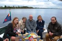 l/r Shelly, Cillian,Helen,, Pat, Nuala, Matthais on River Shannon in Ireland